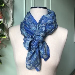 Blue Floral recycled pure silk scarf.